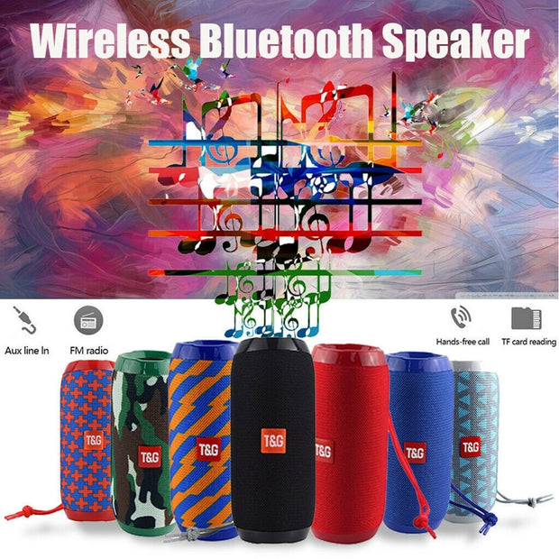 1200mAh Waterproof Subwoofer Portable Bluetooth Speaker 8D Surround Loudspeake TF Card/AUX /FM Radio /Call For Outdoor Sports