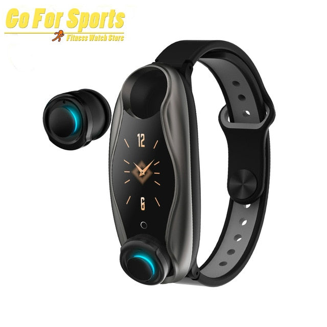Newest T90 Smart Watch TWS Bluetooth Earphone Heart Rate Monitor Smart Wristband Long Time Standby Sport Watch Men pk M1 T89
