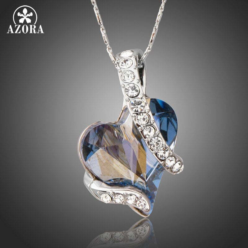 AZORA Forever Love Light Blue Heart Stellux Austrian Crystal Classic Pendant Necklaces for Valentine's Day Gift of Love TN0195