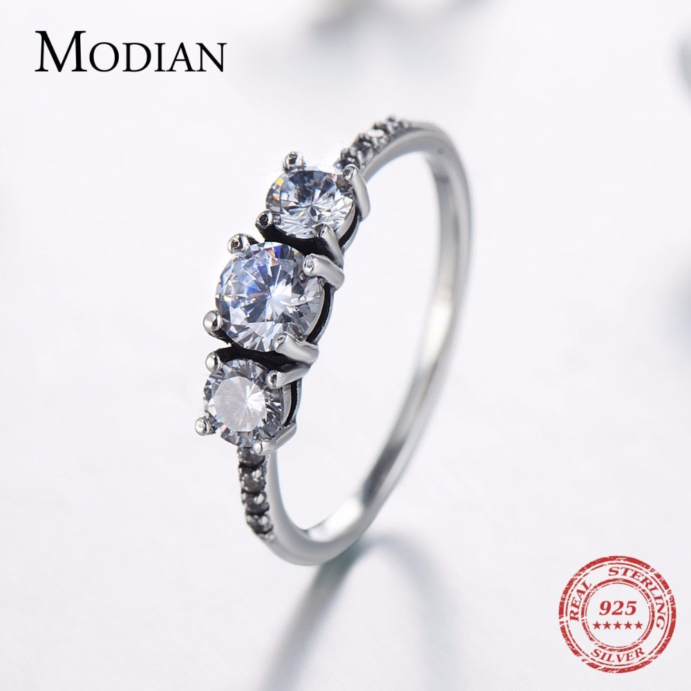 Modian New Vintage Real 925 Sterling Silver Sparkling Rings Cubic Zirconia Stackable Party Ring For Women Couple Gift