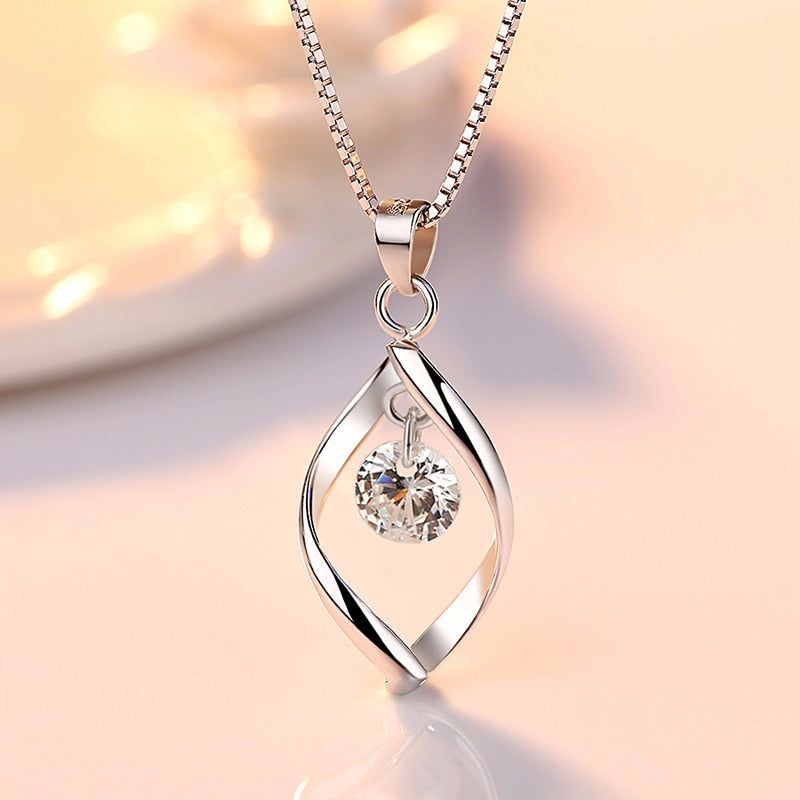 Elegant 925 Sterling Silver AAA Zircon Pendant Necklaces Women Jewelry Minimalist Twist Design Crystal Necklaces & Pendants