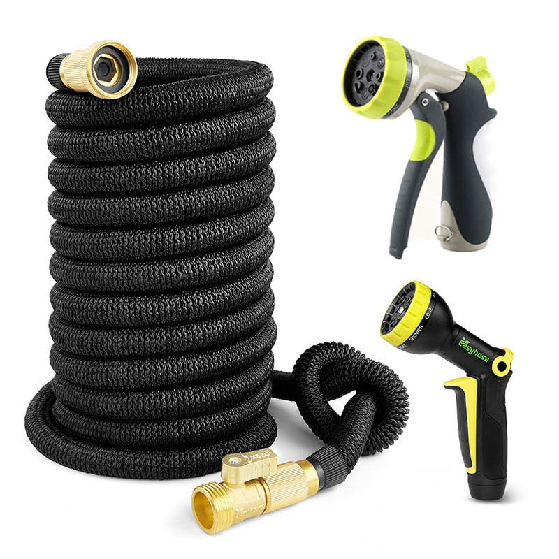 High Quality Garden Hose Expandable Telescopic Magic Hose With Metal Spray Gun Set flower Outdoor Garden Irrigation Nozzle