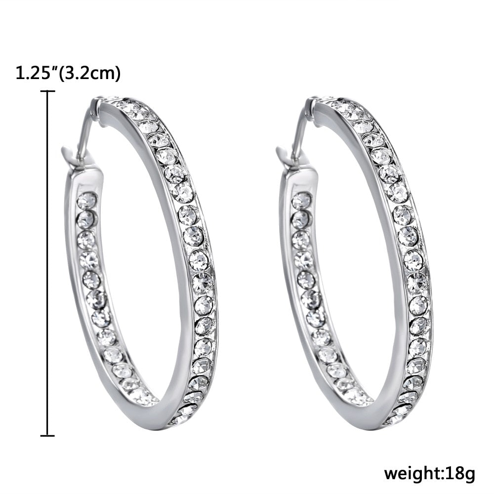 Newest Luxury Silver Plated Large Hoop Round Earrings for Women Gift With AAA Austrian Crystal Hoop Earrings Jewelry