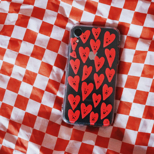 Handpainted Clear Silicone Gel Phone Case in 'Mixed Feelings'