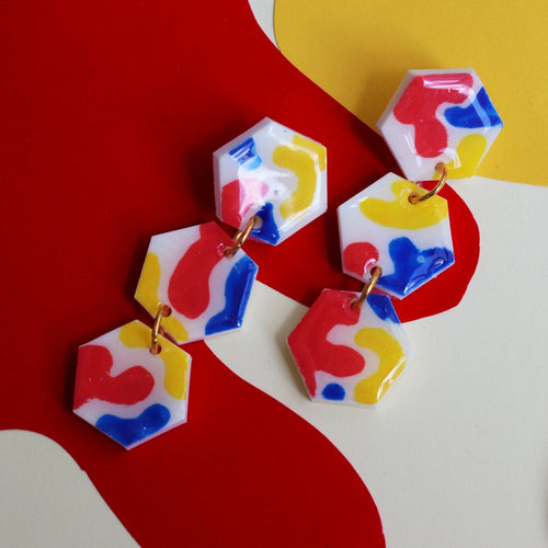 Matisse Triple-Tier Hexagon Drops