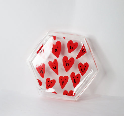 'Mixed Feelings' Hearts Coaster