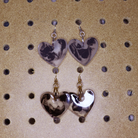 Black Marble Splash Petite Hearts