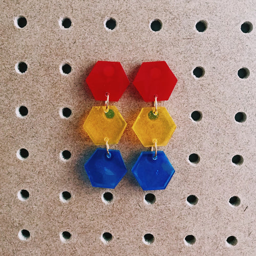 Tricolour Triple-Tier Hexagon Drops