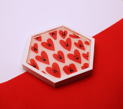 'Mixed Feelings' Hearts Jesmonite Coaster