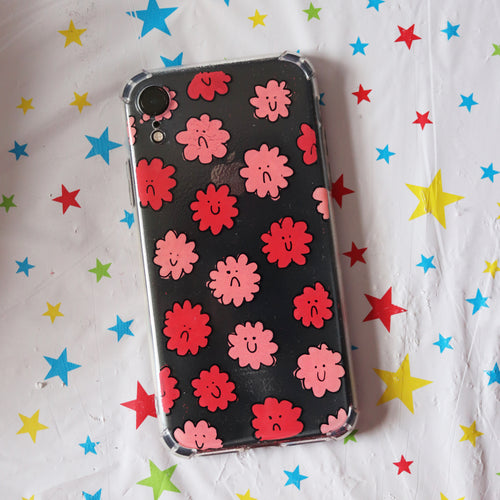 Handpainted Clear Silicone Gel Phone Case in 'Mixed Bunch'