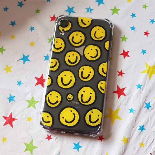 Handpainted Clear Silicone Gel Phone Case in 'Classic Smiles'