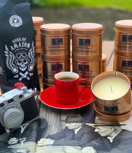 Load image into Gallery viewer, Espresso Candle - Rose gold Candle 8oz tin. & Sons of Amazon coffee gift box