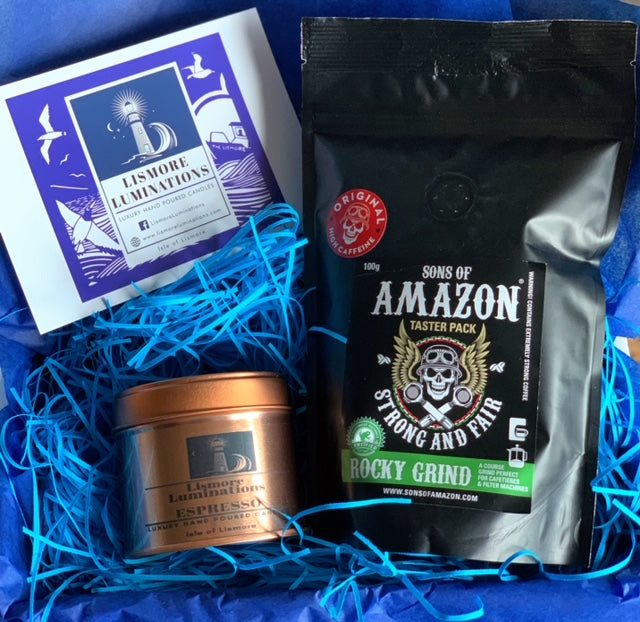 Espresso Candle - Rose gold Candle 8oz tin. & Sons of Amazon coffee gift box