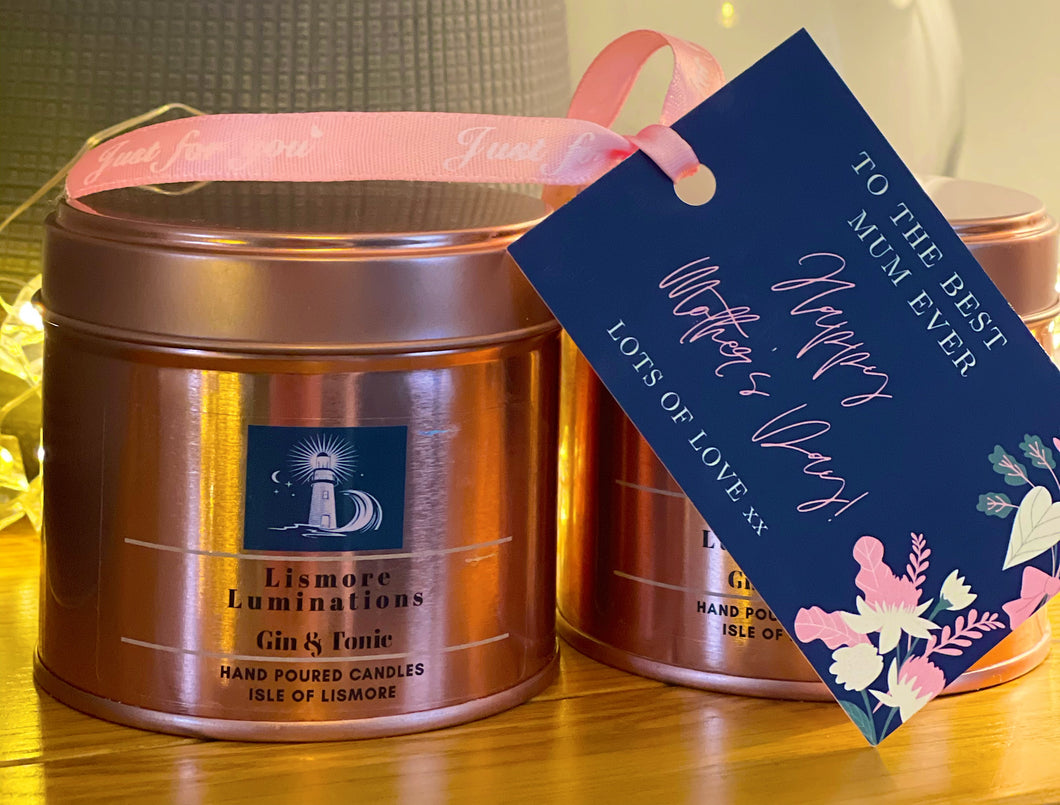 Gin and Tonic - 8oz rose gold tin soy candle