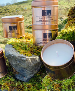 The Gloaming - rose gold tin - 8oz soy wax candle.