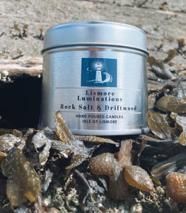 Rock Salt and Driftwood - 8 oz soy candle in silver tin.