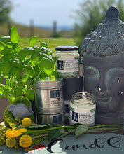 Load image into Gallery viewer, Lime & Basil & mandarin 8 oz soy candle - silver tin