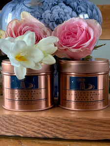 Pear and freesia candle. - 8oz rose gold tin. Soy wax