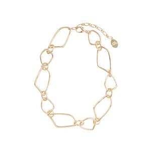 Four Corners Chain Link Necklace in Gold