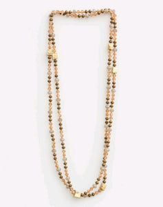 Stella & Gemma Natural/Peach Beads with Cubes Necklace