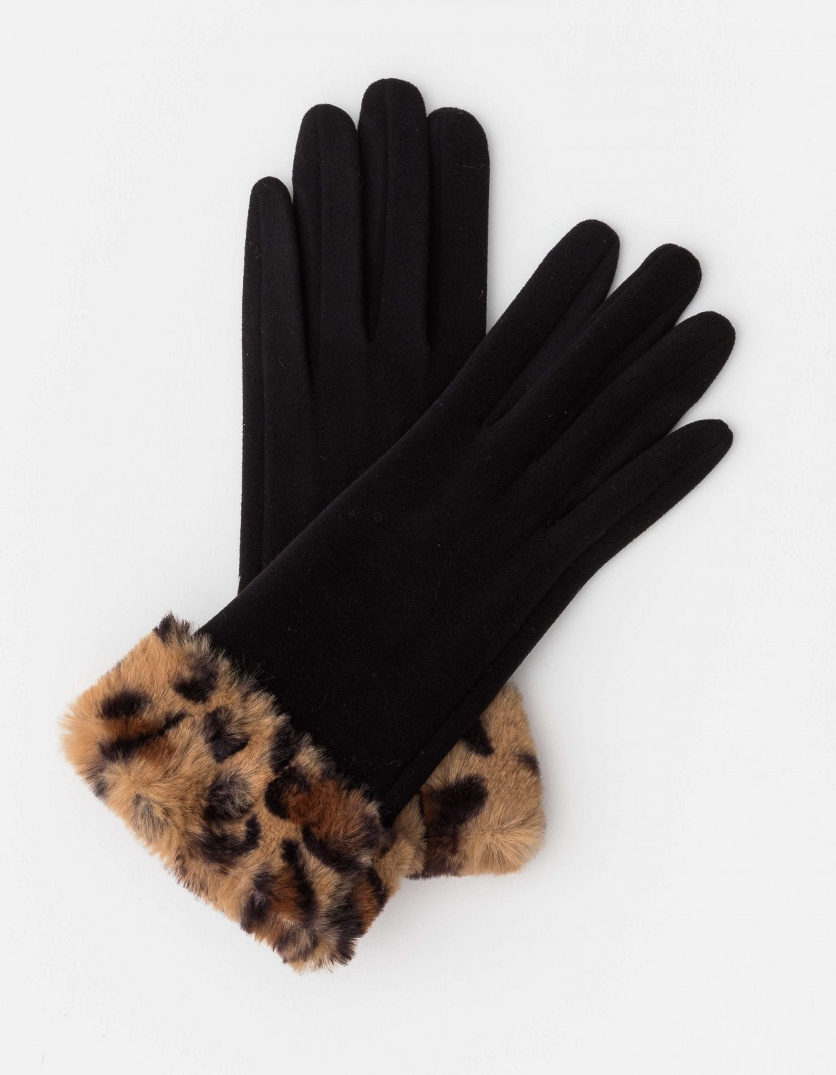 Stella & Gemma Black with Leopard Fur Gloves