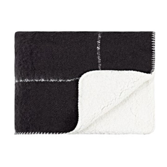 Linens & More Grid Sherpa Throw in Black