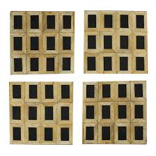 French Country Collections Set of 4 Black and Natural Square Coasters