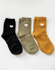 Stella & Gemma Set of 3 Heart Socks in Black/Mint/Mustard