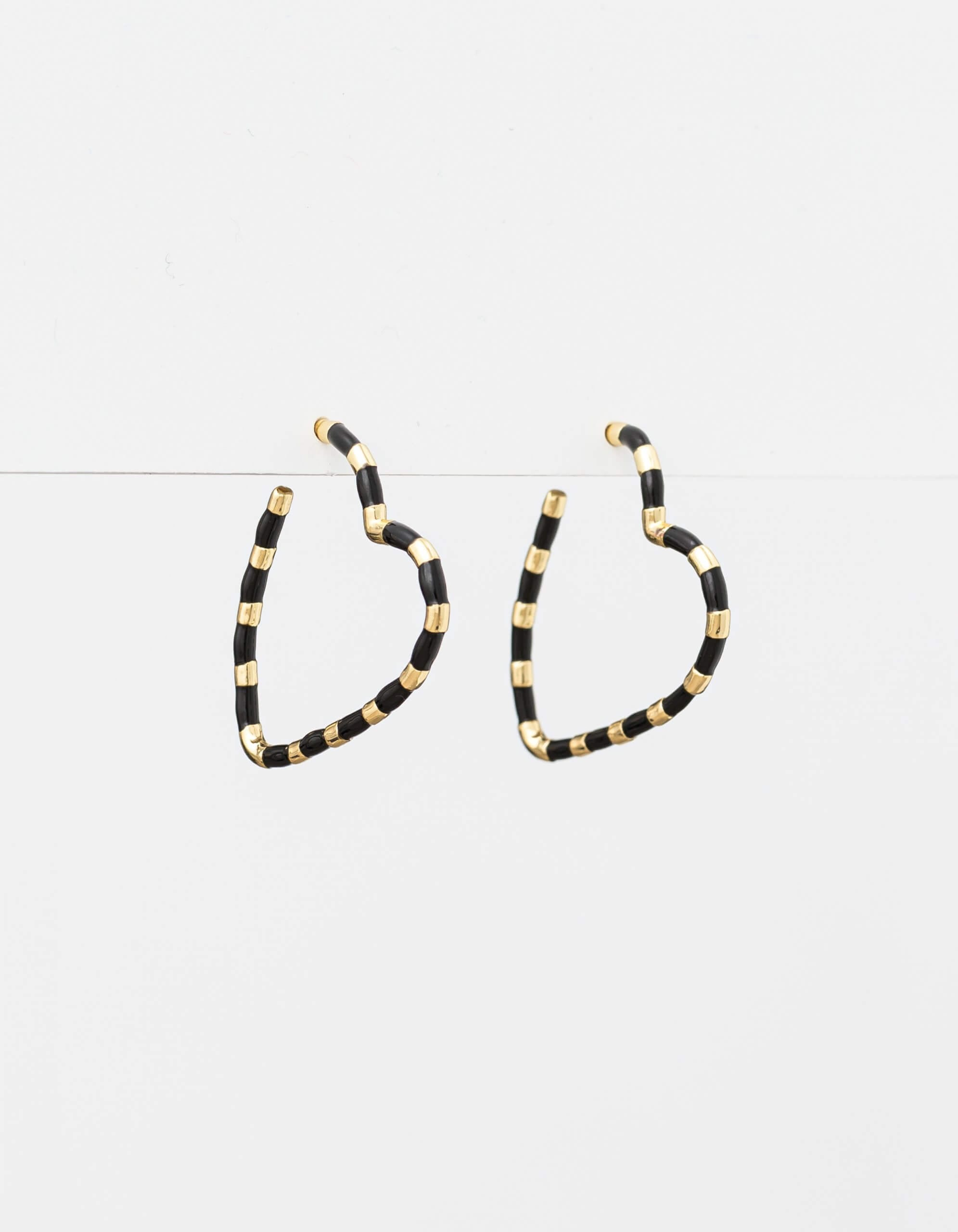 Stella + Gemma Black/Gold Heart Earrings