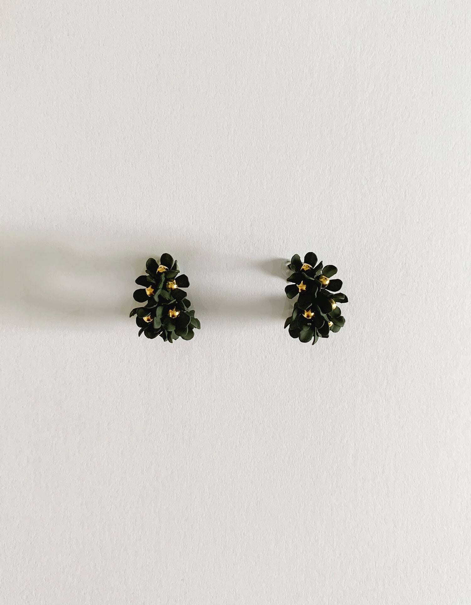 Stella & Gemma Khaki Flower Hoop Earrings