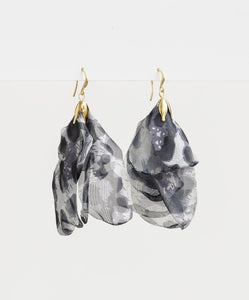 Stella & Gemma Organza Petal in Grey Leopard Earrings