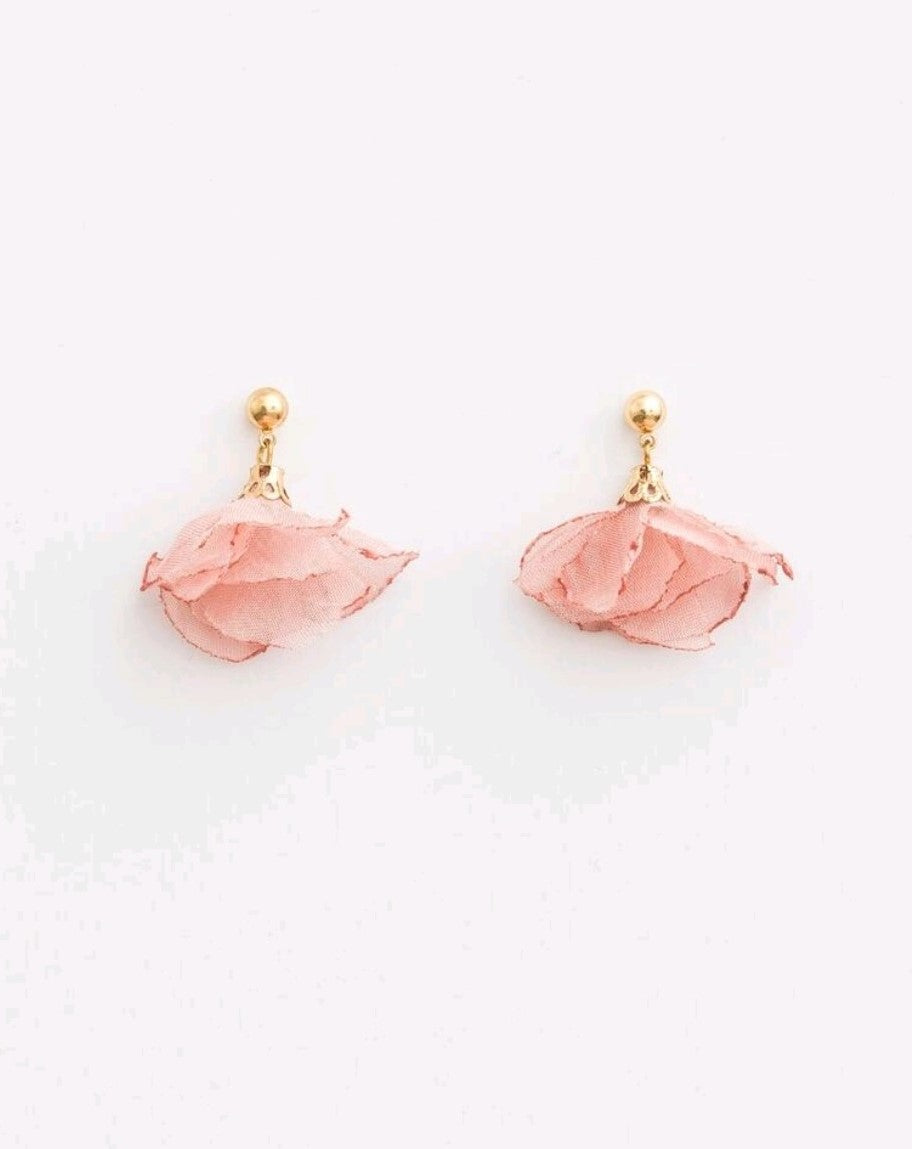 Stella & Gemma Blush Petal Organza Earrings