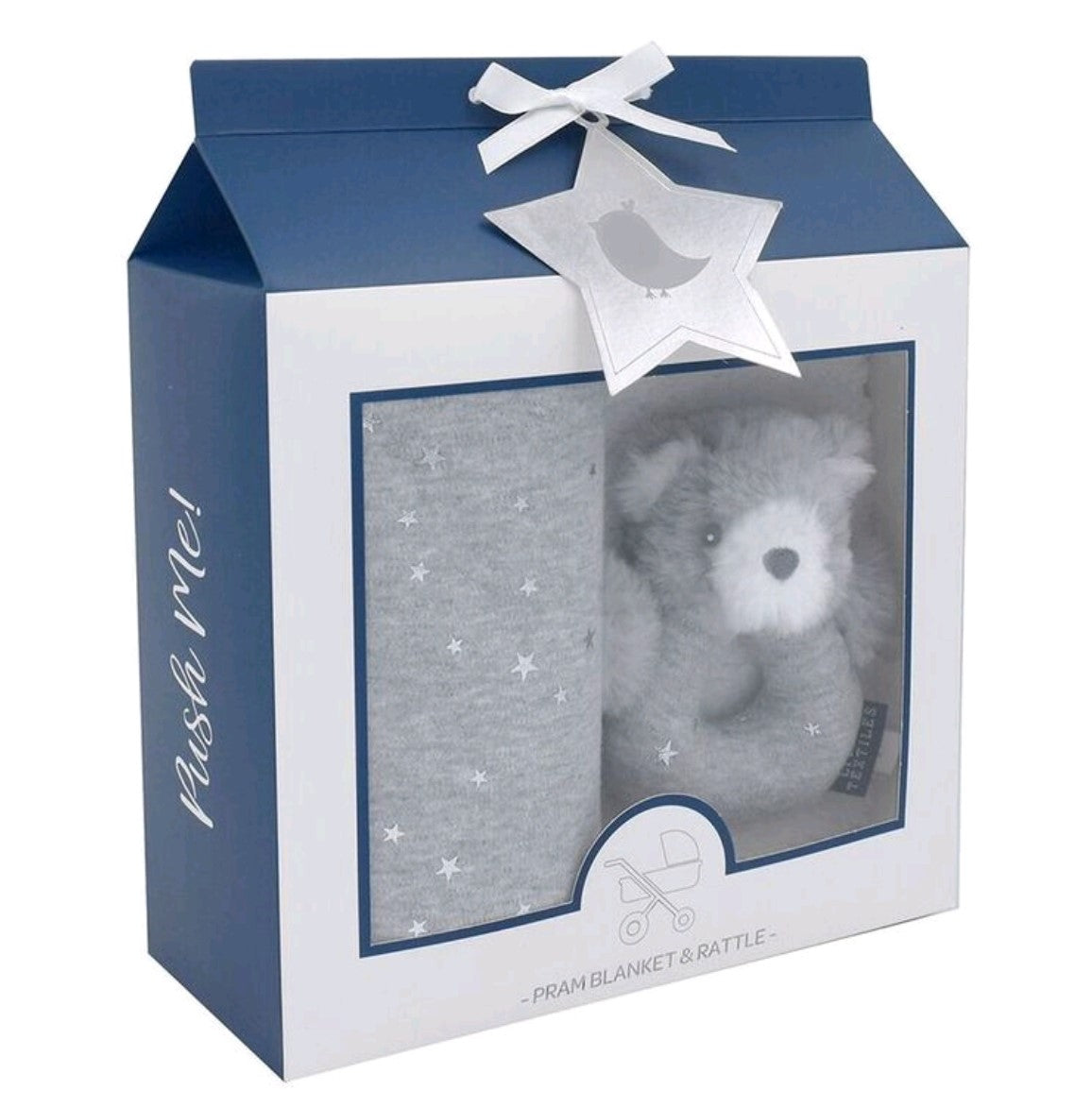 Living Textiles Push Me Gift Set in Silver Stars
