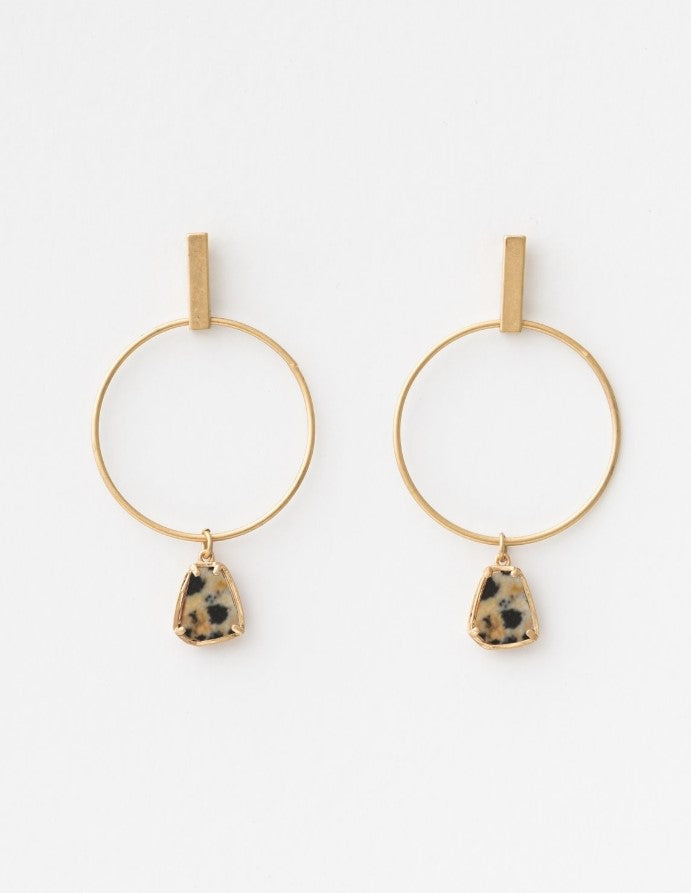Stella & Gemma Gold Hoop with Speckle Stone Earrings