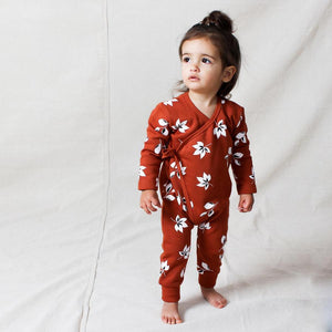 Tiny Tribe Autumn Leaves Cross Over Wrap Romper