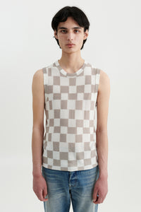 Mia silk checkerboard top Fairchild