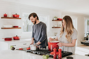 Young couple in love cooking together