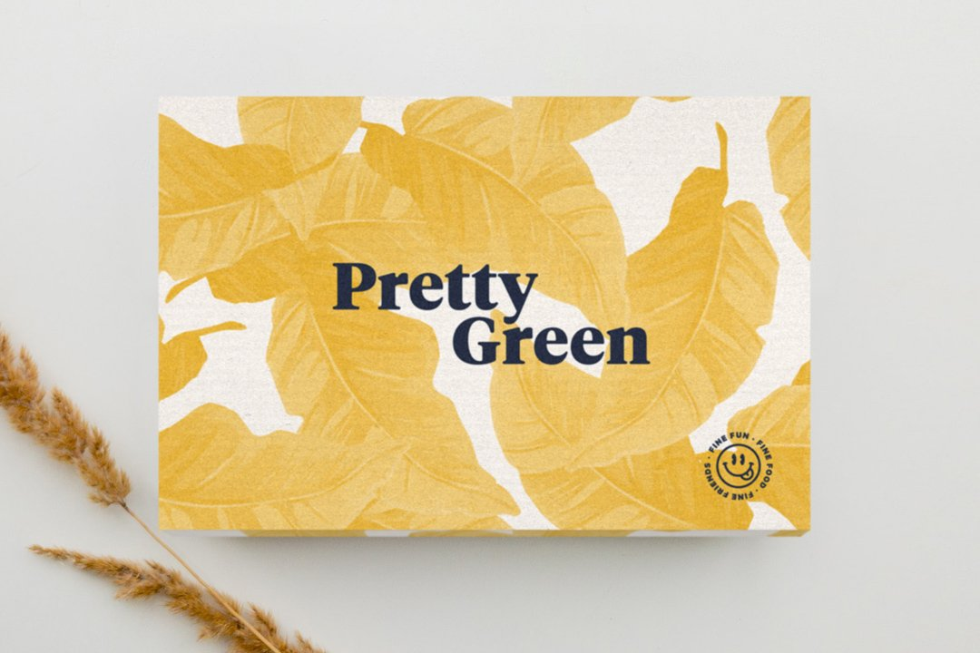 Yellow Pretty Green gift box can be filled with your favourite gift from our selection. Take your pick!