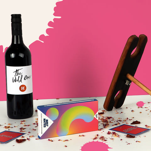 Best friends hamper with wine, wine holder and chocolate
