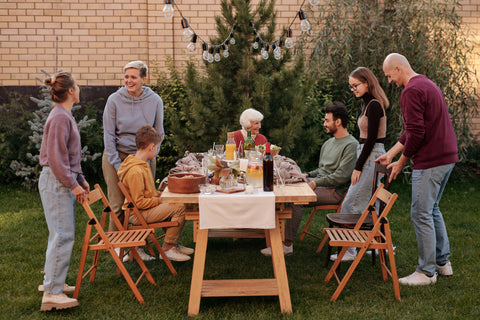 Family gathering at a Christmas lunch