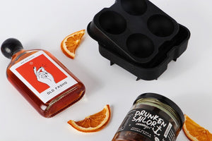 Old fashioned cocktail hamper with bourbon relish and sphere ice moulds for dad