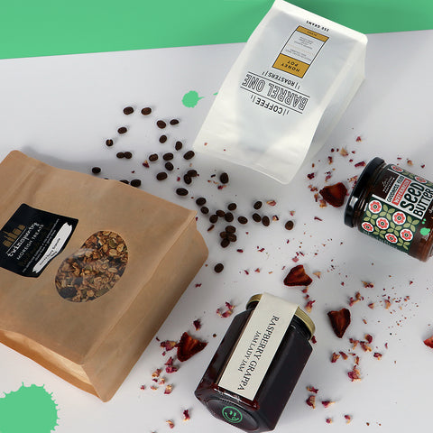 Breakfast hamper with coffee, granola, jam and cacao spread