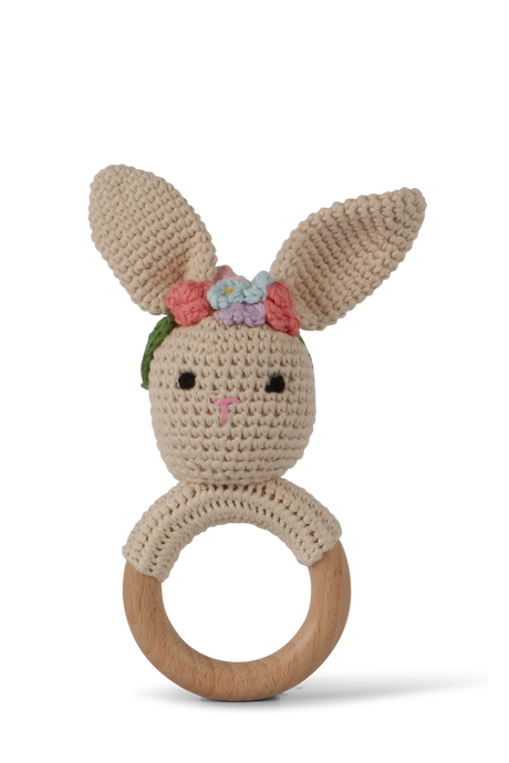 Crochet floral bunny baby rattle by Little Ray Baby