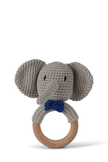 Crochet elephant baby rattle by Little Ray Baby