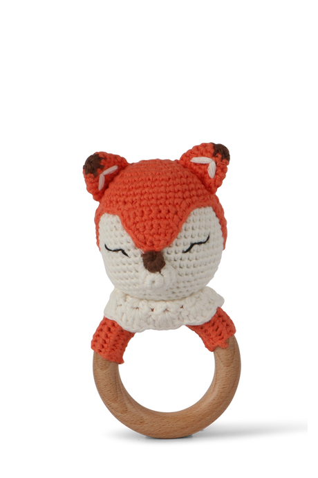 Crochet fox baby rattle by Little Ray Baby