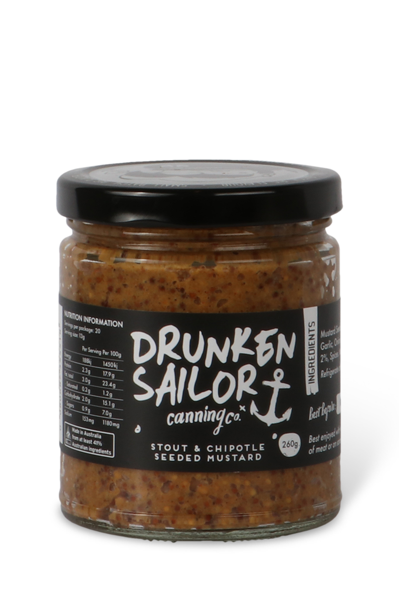 Chipotle and stout mustard by Drunken Sailor Canning Co