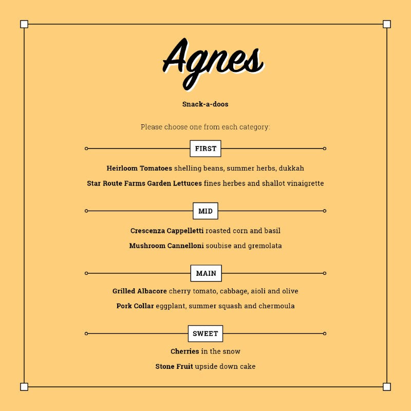 <html>AGNES BISTRO POP-UP / July 29th / $50 / RESERVE <u>ordinairewine@gmail.com</u> or 510-350-7524</html>