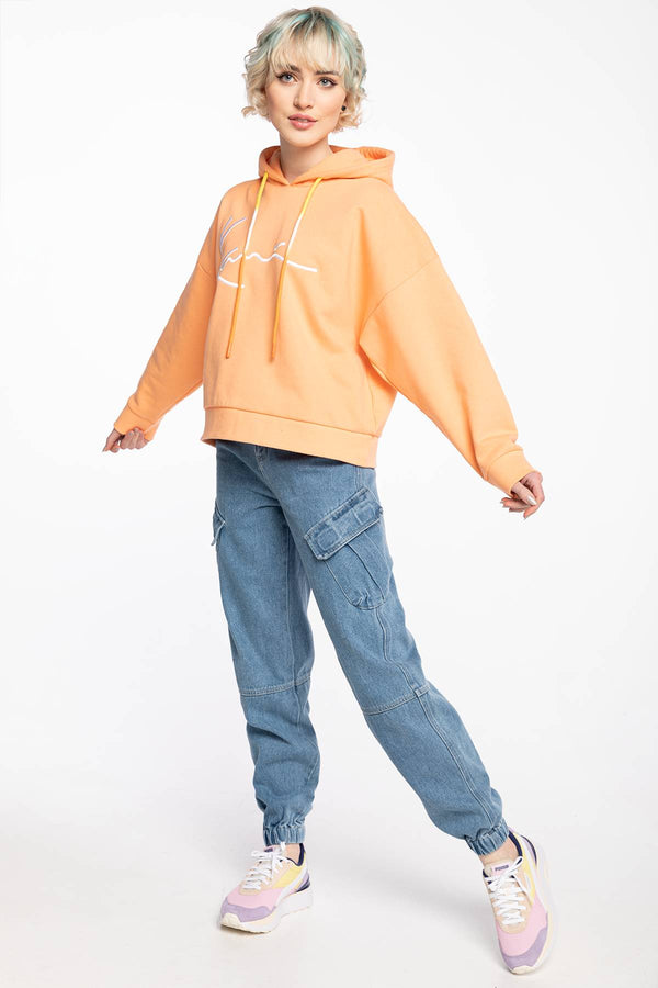 #00030  Karl Kani îmbrăcăminte, bluză BLUZA Z KAPTUREM KK Signature Hoodie light orange 6128556 LIGHT ORANGE