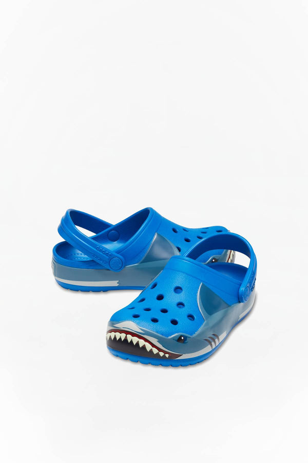 #00089  Crocs încălțăminte, papuci FUN LAB SHARK BAND CLOG KIDS 4JL BRIGHT/COBALT