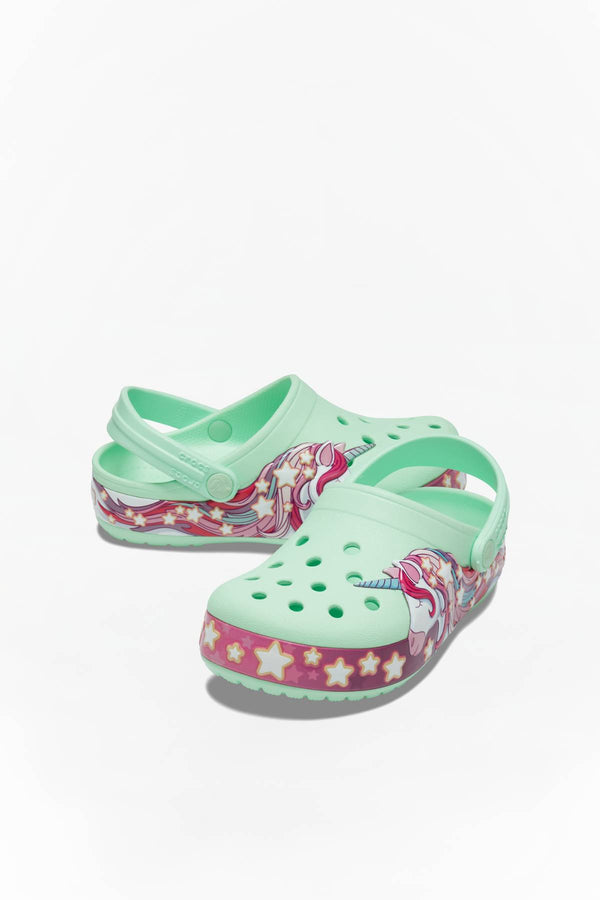 #00076  Crocs încălțăminte, papuci FUN LAB UNICORN BAND CLOG KIDS 3TI NEO MINT